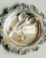 lola quinlan elopement rings antique spoons on platter