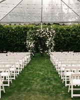 mia patrick wedding ceremony tent chairs alter