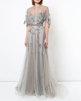 mother of the bride dress silver embroidered cape