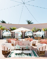 ivory patio furniture with aqua and coral accent decor