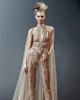 gold naeem khan long pants with cape wedding dress spring 2019