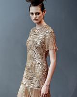 gold naeem khan short with fringe wedding dress spring 2019