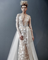 naeem khan long sleeves v-neck wedding dress spring 2019
