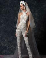 halter strap lace jumpsuit Wedding Dress Naeem Khan Spring 2020