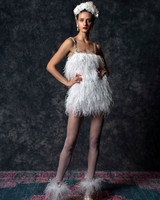 spaghetti strap squared neckline mini feathered Wedding Dress Naeem Khan Spring 2020