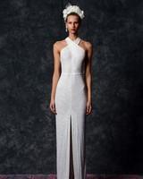 off the shoulder sheath Wedding Dress Naeem Khan Spring 2020