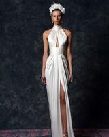 off the shoulder wrap around neckline Wedding Dress Naeem Khan Spring 2020