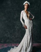 long sleeve plunging v-neck Wedding Dress Naeem Khan Spring 2020