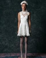 off the shoulder mini Wedding Dress Naeem Khan Spring 2020