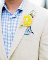 neon yellow boutonniere on suit jacket