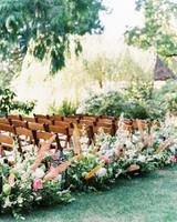 paige matt wedding ceremony aisle chairs