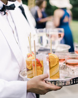 pillar paul wedding cocktails on tray