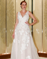 randy fenoli wedding dress floral lace v-neck a-line