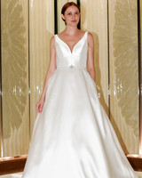 randy fenoli wedding dress satin v-neck a-line