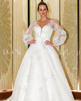 randy fenoli wedding dress long sleeves ball gown floral applique