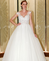 randy fenoli wedding dress lace cap sleeves tulle ball gown