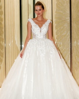 randy fenoli wedding dress v-neck floral applique tulle ball gown