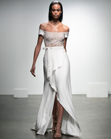 rime arodaky fall 2019 a line high slit tie skirt off the shoulder short sleeve floral applique