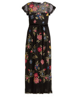 REDVALENTINO floral embroidered mesh maxi dress