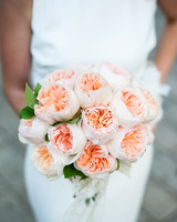 Peach garden rose wedding bouquet