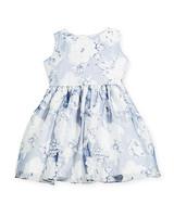 summer flower girl dress blue white pattern