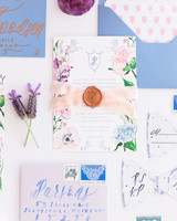 Elegant Watercolor Floral Wedding Invitations With Blue Lettering