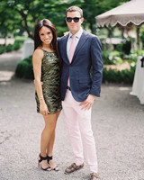 summer wedding guests metallic dress pink ensemble