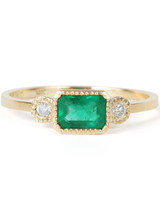 green three stone ring