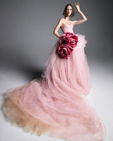 vera wang wedding dress spring 2019 pink flowers strapless ball gown