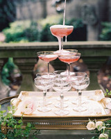 wedding champagne towers pink champagne on gold tray