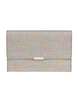 "Leoffler Randall Envelope Clutch in ""Rainbow Lamé"