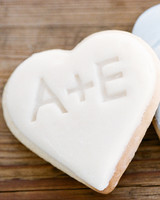 initials white frosted heart shaped cookies
