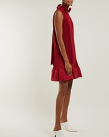 short red tibi dress with ruffled collar