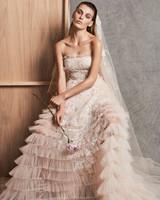 zuhair murad dress fall 2018 peach strapless ruffles