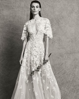 zuhair murad dress fall 2018 a-line embellished three-quarter length sleeves