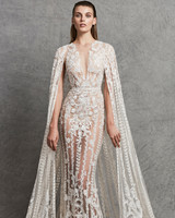 zuhair murad sheath lace wedding dress fall 2018