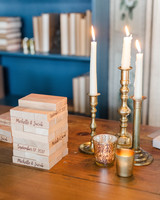 guest book jenga blocks candlesticks