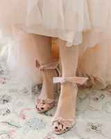 wedding shoes blush velvet bows