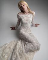 alyne rita vinieris fall 2019 lace long sleeve sheath with train