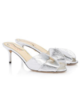silver mules bridesmaid shoes
