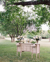 wedding chandelier outdoor suspended above antique furniture