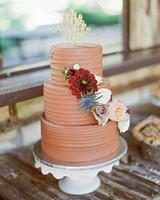 three-tiered simple chocolate cake
