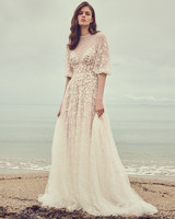 costarellos quarter length bell sleeves lace overlay wedding dress spring 2020