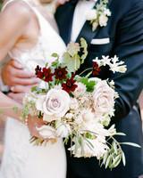 cristina chris wedding couple flowers bouquet