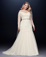 davids bridal wedding dress fall 2019 off-the-shoulder sheer long sleeves