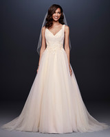davids bridal wedding dress fall 2019 v-neck with floral appliques at waist