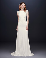 davids bridal wedding dress fall 2019 embroidered cap-sleeved sheath