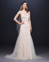 davids bridal wedding dress fall 2019 embroidered overlay high-neck
