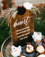 dessert menu ideas dark stained wood board autumn style
