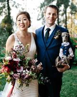 dog wedding bride groom couple shirt vest tie